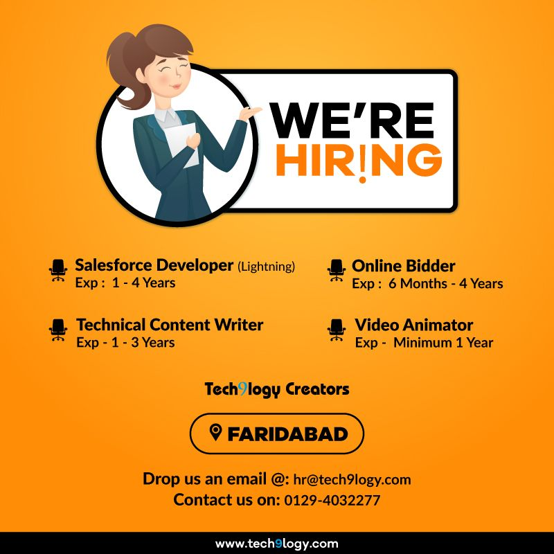 Careers Jobs Openning In Faridabad Tech9logy Creators Magento Ecommerce We Are Hiring Salesforce Developer