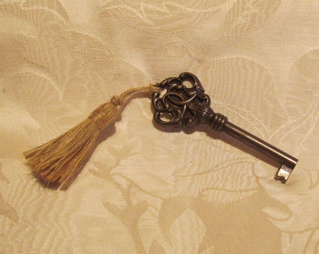 Antique Cabinet Key Ornate Bronze Gold Tassel Huwil Key
