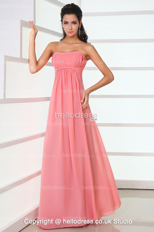 Endearing Pink Strapless Neckline Chiffon Ruffles Long Cheap ...