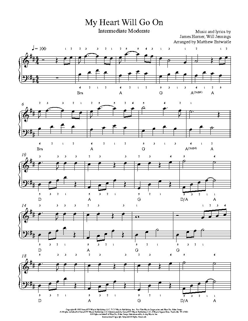 My Heart Will Go On by Celine Dion Piano Sheet Music : Intermediate Level : Playground ...