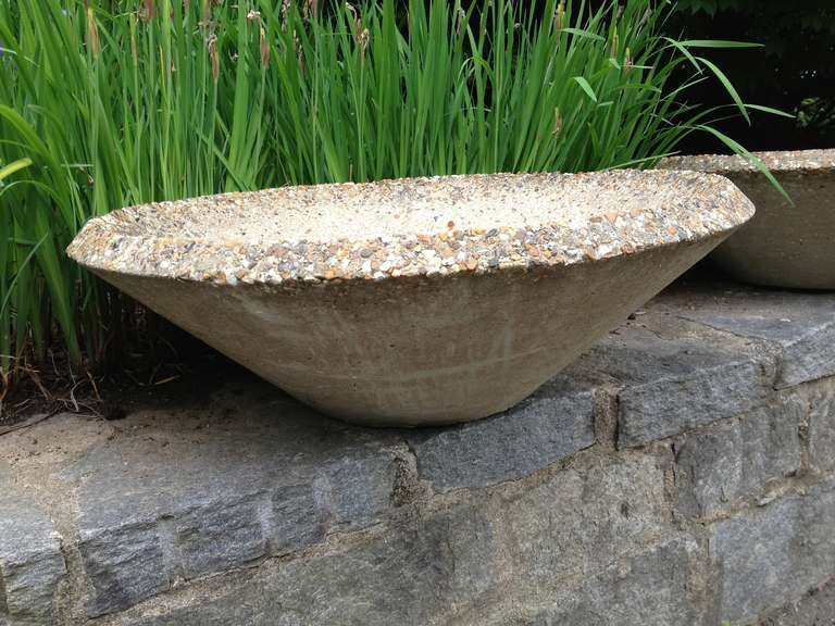 Pair Large Cast Stone Bowl Planters 1960s | From A Unique Collection Of  Antique And Modern