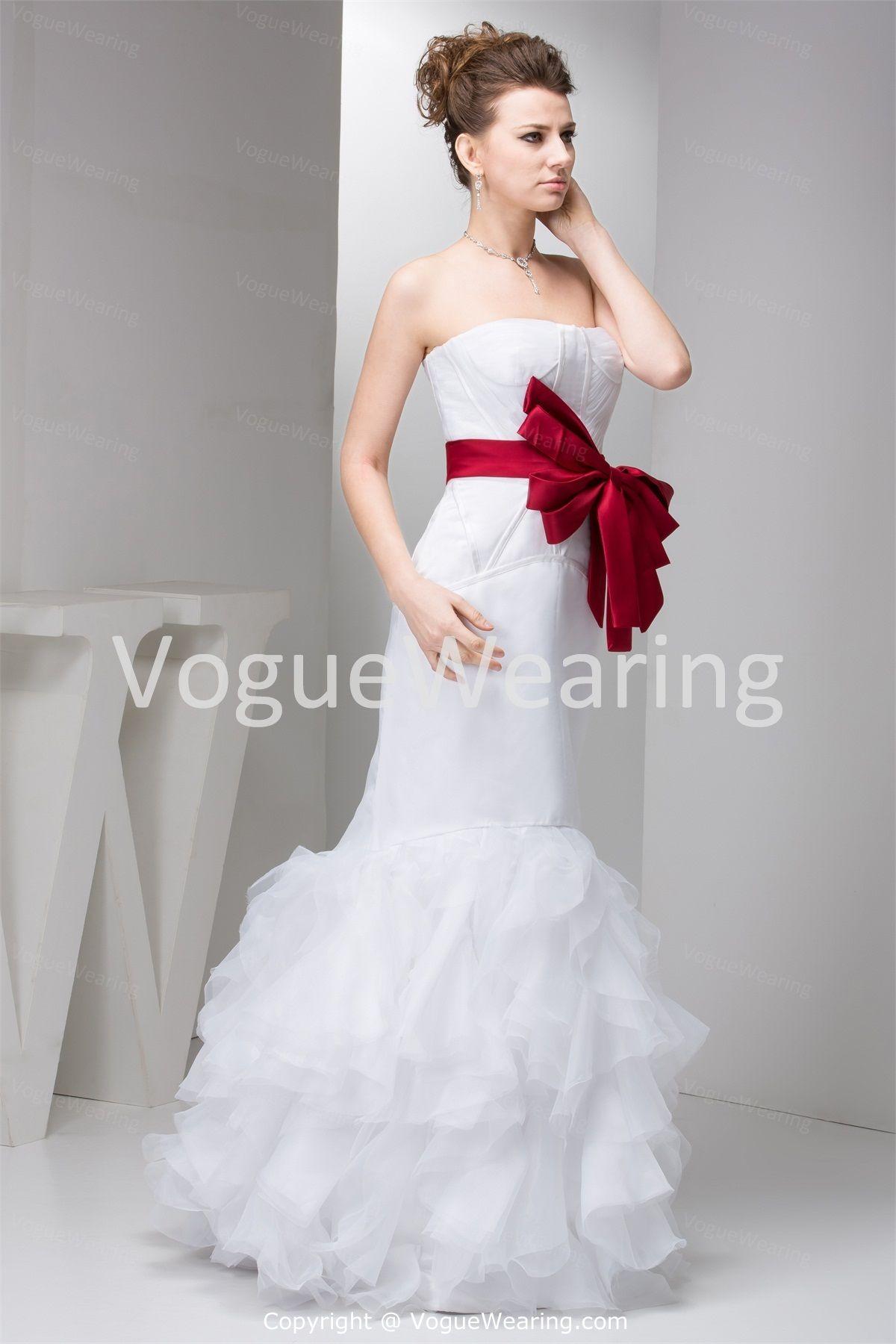 Mermaid Wedding Gown Red White Wedding Dress Wedding Gowns Mermaid Drop Waist Wedding Dress [ 1800 x 1200 Pixel ]