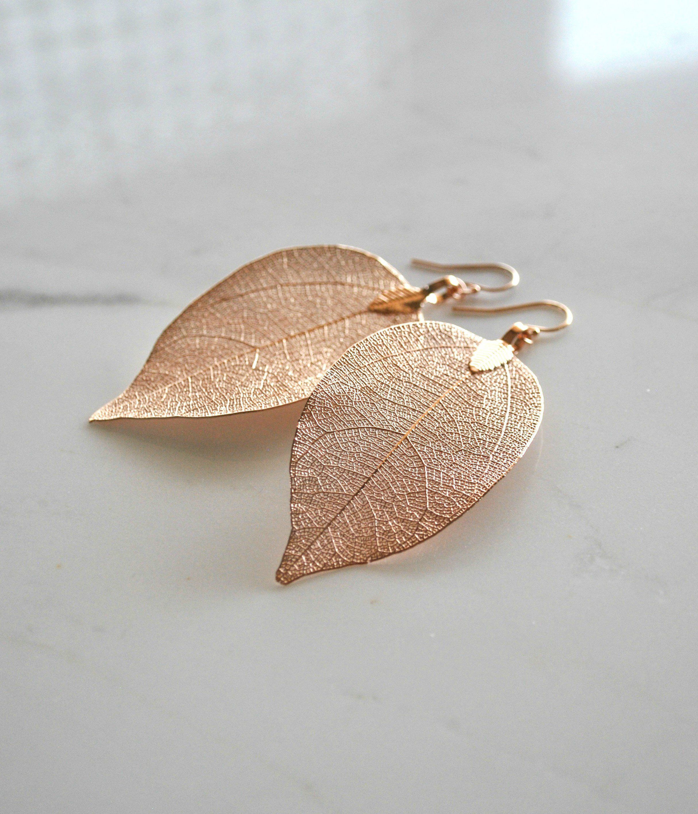Real Leaf Earrings Rose Gold Leaf Earrings Natural Jewelry Etsy Gold Earrings Dangle Rose Gold Earrings Dangle Nature Jewelry