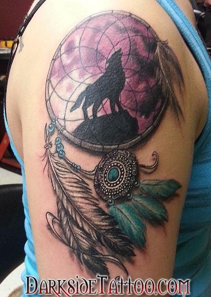 Dave Racci Color Dreamcatcher Tattoo Wolf Dreamcatcher Tattoo Dreamcatcher Tattoo Dream Catcher Tattoo