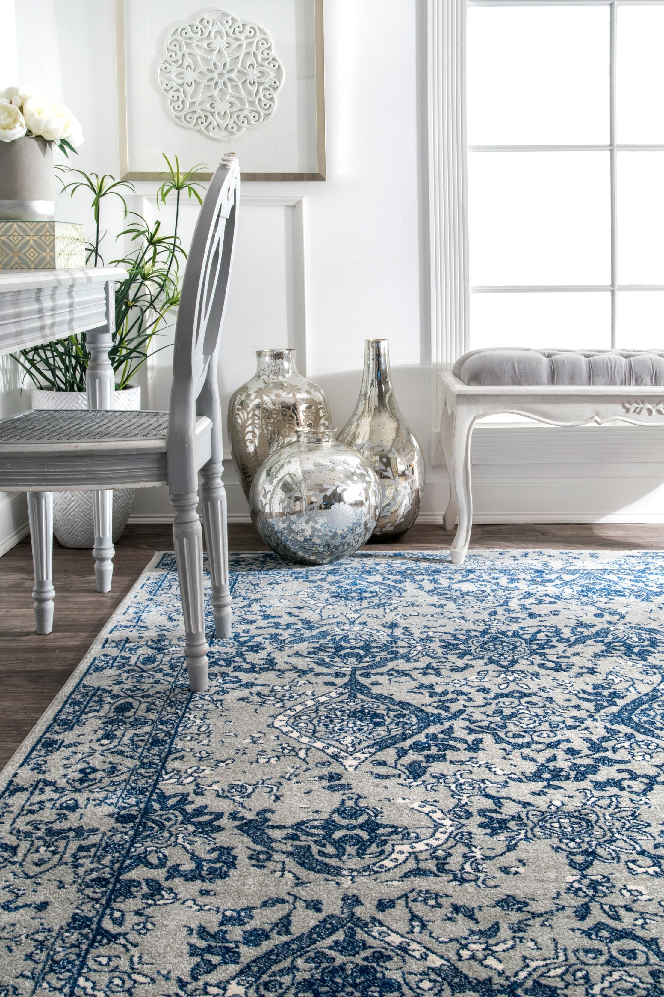 Bosphorus Floral Ornament Light Blue Rug Light Blue Rug Rugs Carpet Dining Room