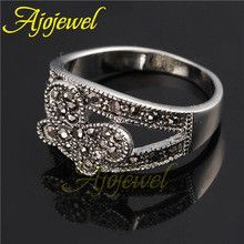 2014 new elegant 18k white gold plated women's black CZ butterfly vintage retro rings jewelry (Ajojewel Brand )