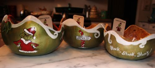 Hand-painted-Grinch-Gourd-Bowls-Signed