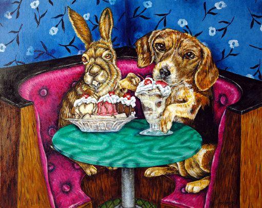 bunny rabbit art tile COASTER gift JSCHMETZ modern folk art coffee cafe