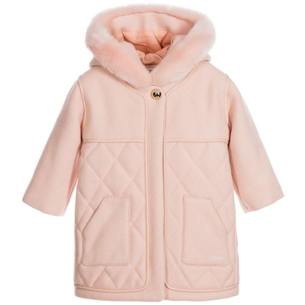 CHLOÉ Girls Pink Wool Coat