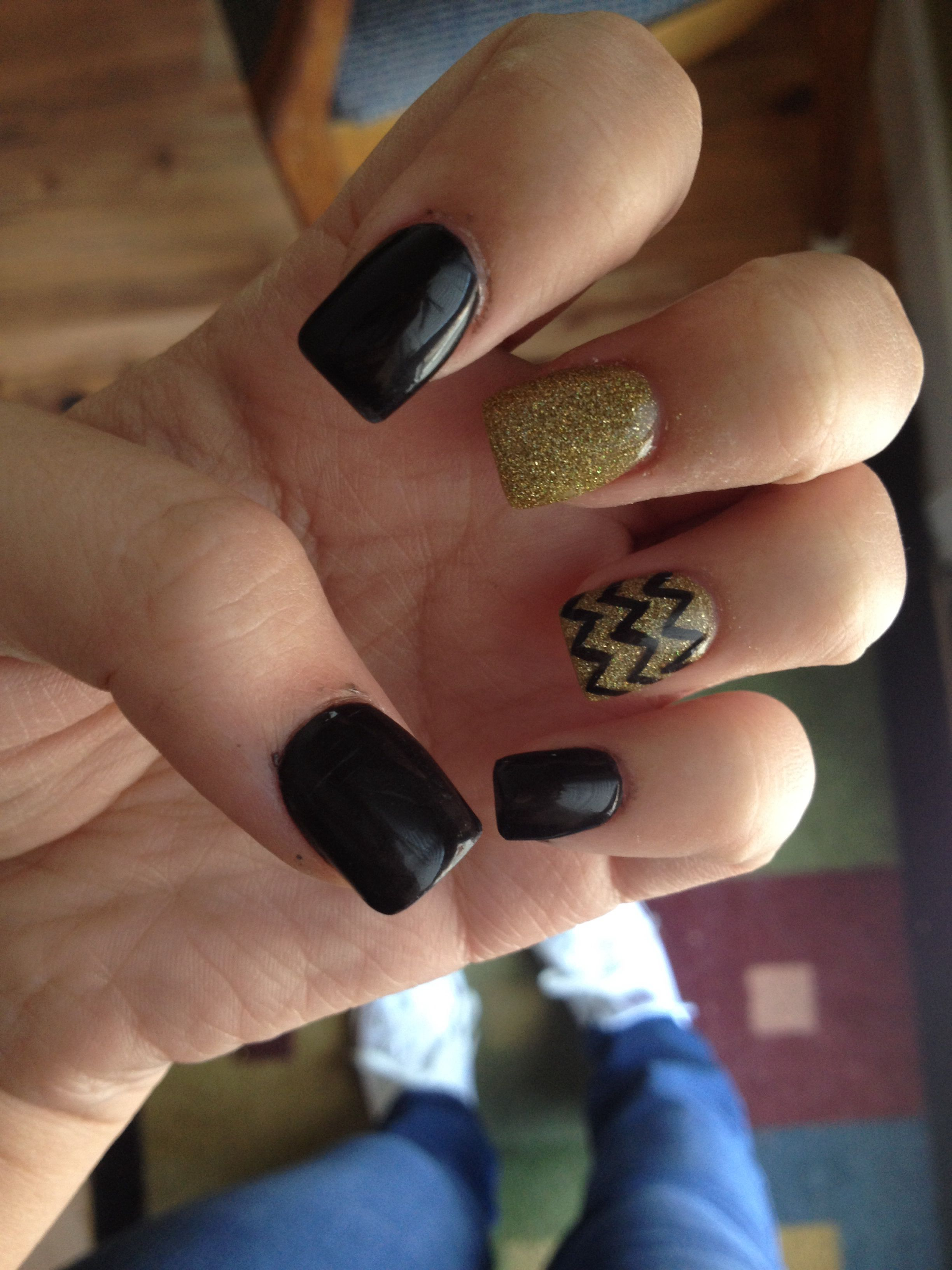 Gold and black acrylics nails pinterest acrylics hair make up