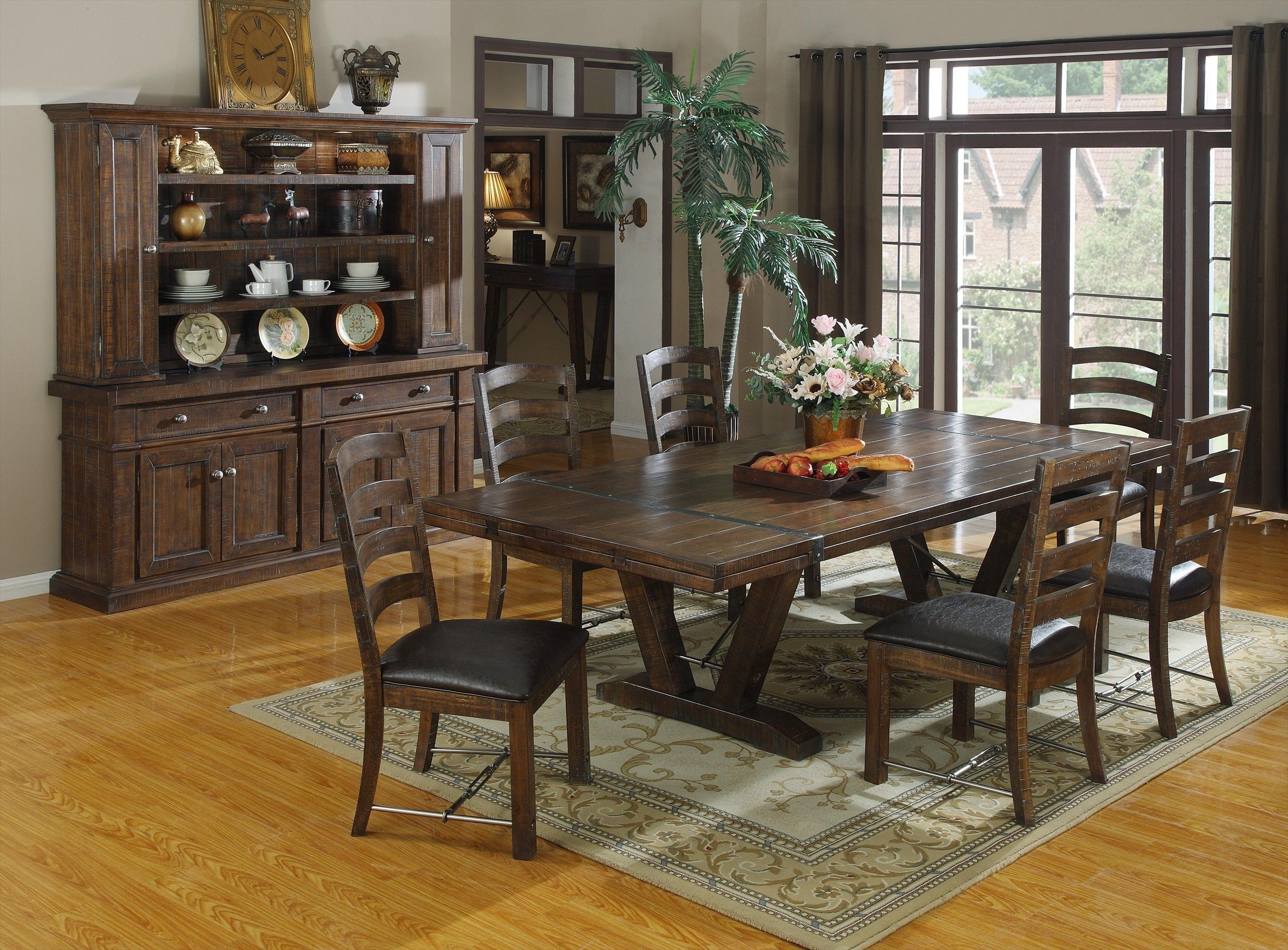Round Dark Brown Wooden Table And White Cup Cream Chairs With ... Rustic  Dining Room SetsIndustrial ...