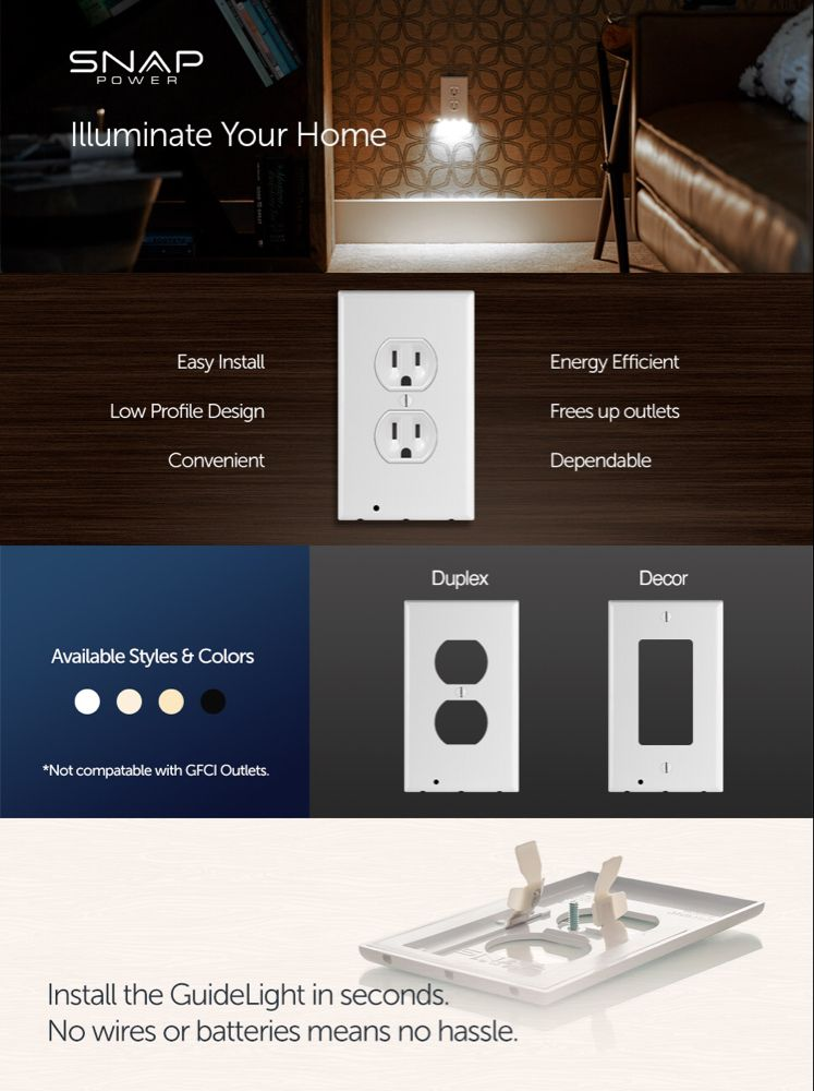 1 Pack Snappower Guidelight Outlet Wall Plate With Led Night Lights No Batteries Or Wires Installs In Secon Plates On Wall Led Night Light Led Light Bars