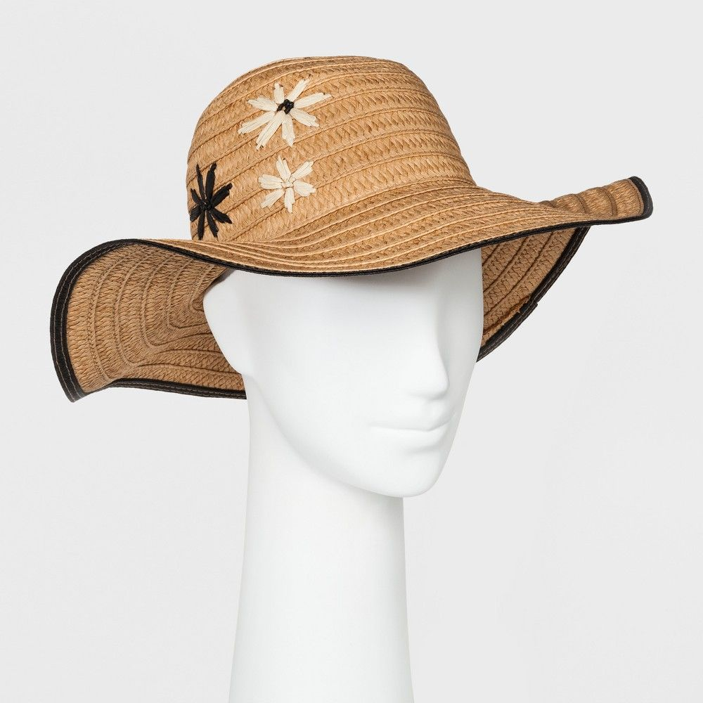 1d9935dd Women's Embroidered Flower Floppy Hat - A New Day Natural, Neutral ...