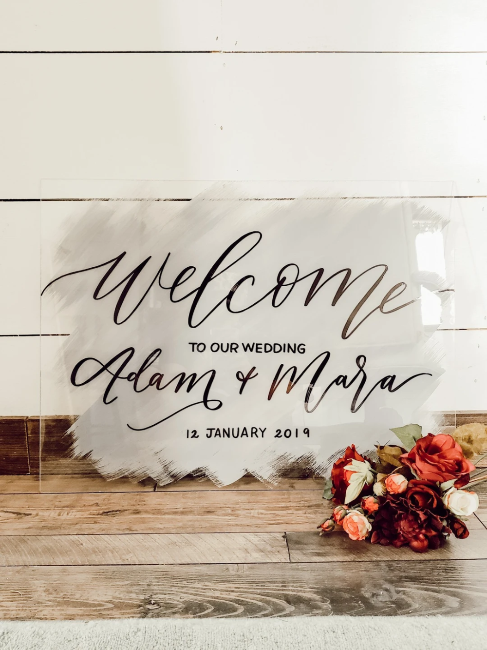 Acrylic Wedding Sign with Brushed Back in 2020