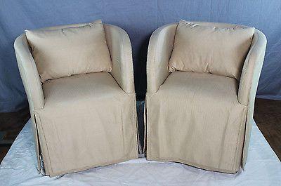 John Saladino Furniture Pair 2 Upholstered Down Slipper Chairs .