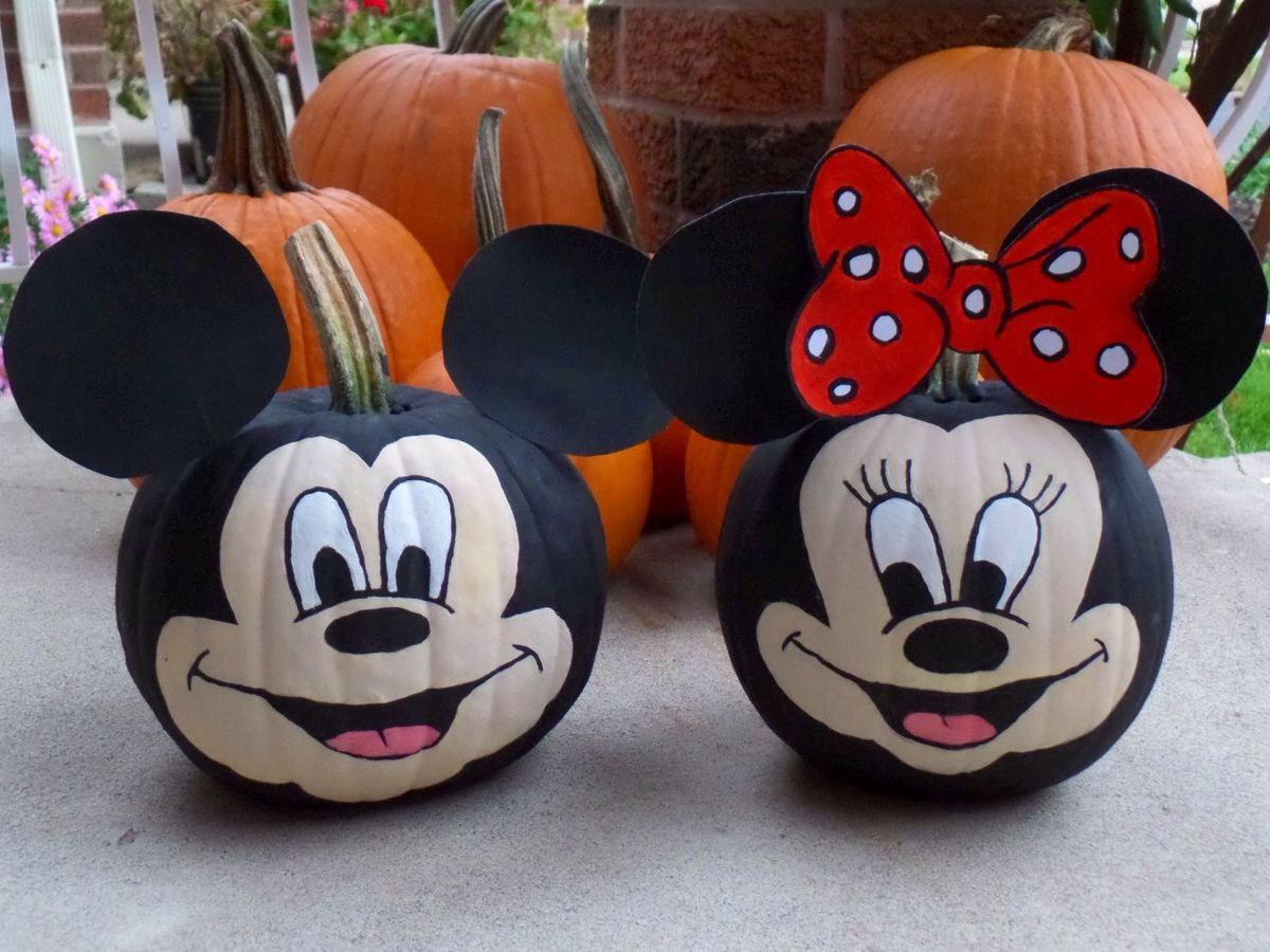 Mickey Pumpkin, painting pumpkins, halloween, Minnie Mouse - Minnie Mouse Halloween Decorations