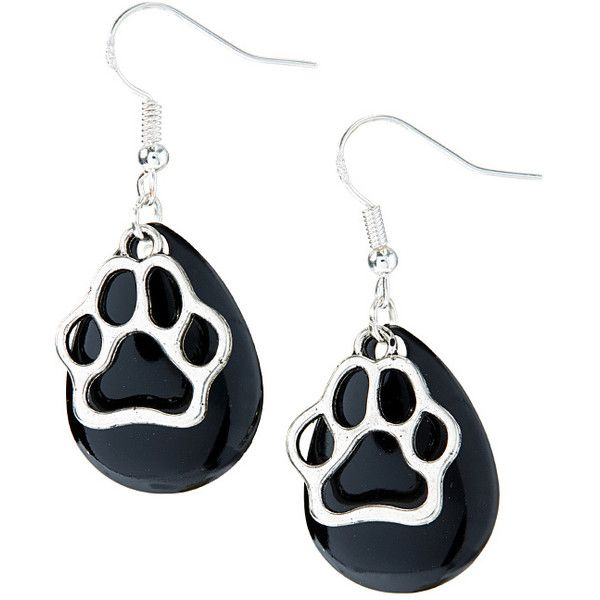 Eye Catching Jewelry Black & Silvertone Paw Print Teardrop Earrings (82 NOK) ❤ liked on Polyvore featuring jewelry, earrings, tear drop earrings, silver tone earrings, teardrop shaped earrings, drop earrings and enamel jewelry