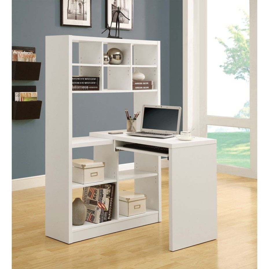 Small White Solid Wood Corner Study Table With Bookcase Having