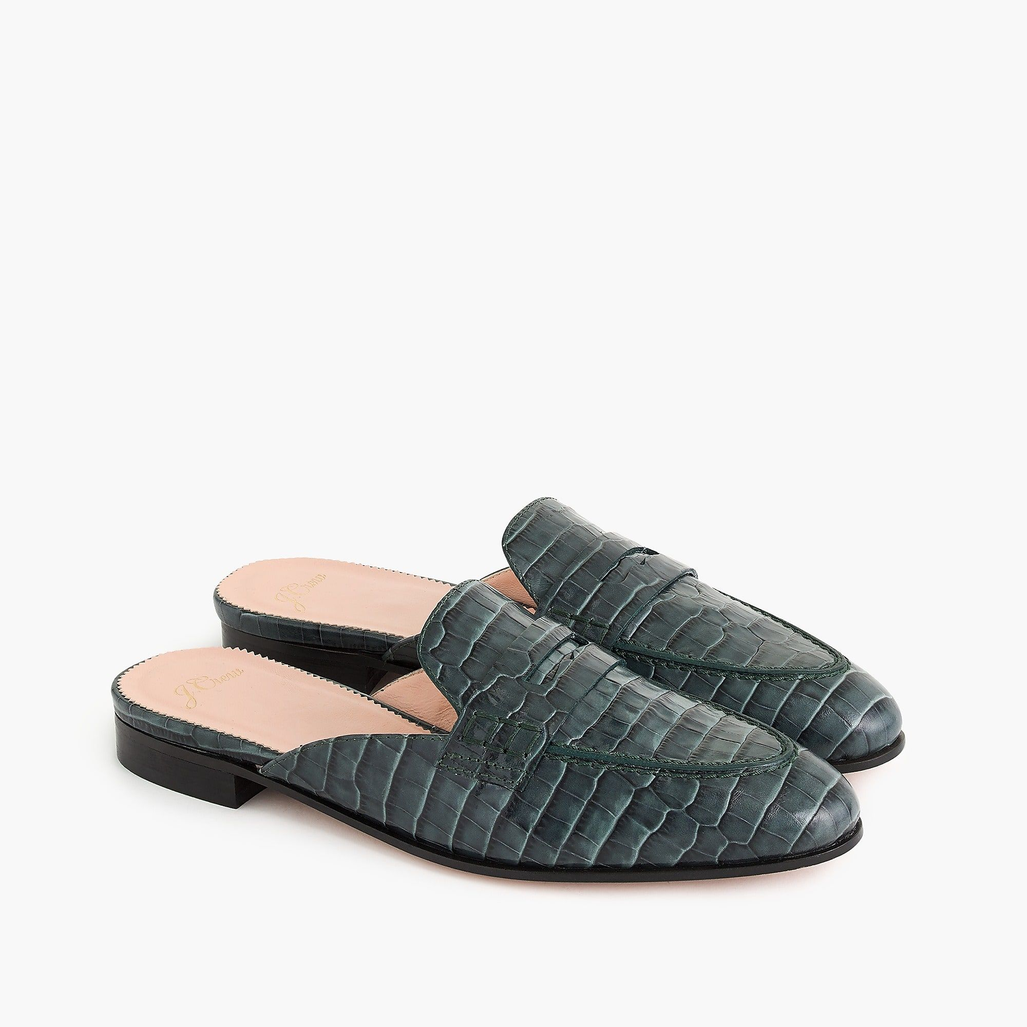 8200238ae44 J.Crew - Academy penny loafer mules in croc-embossed leather