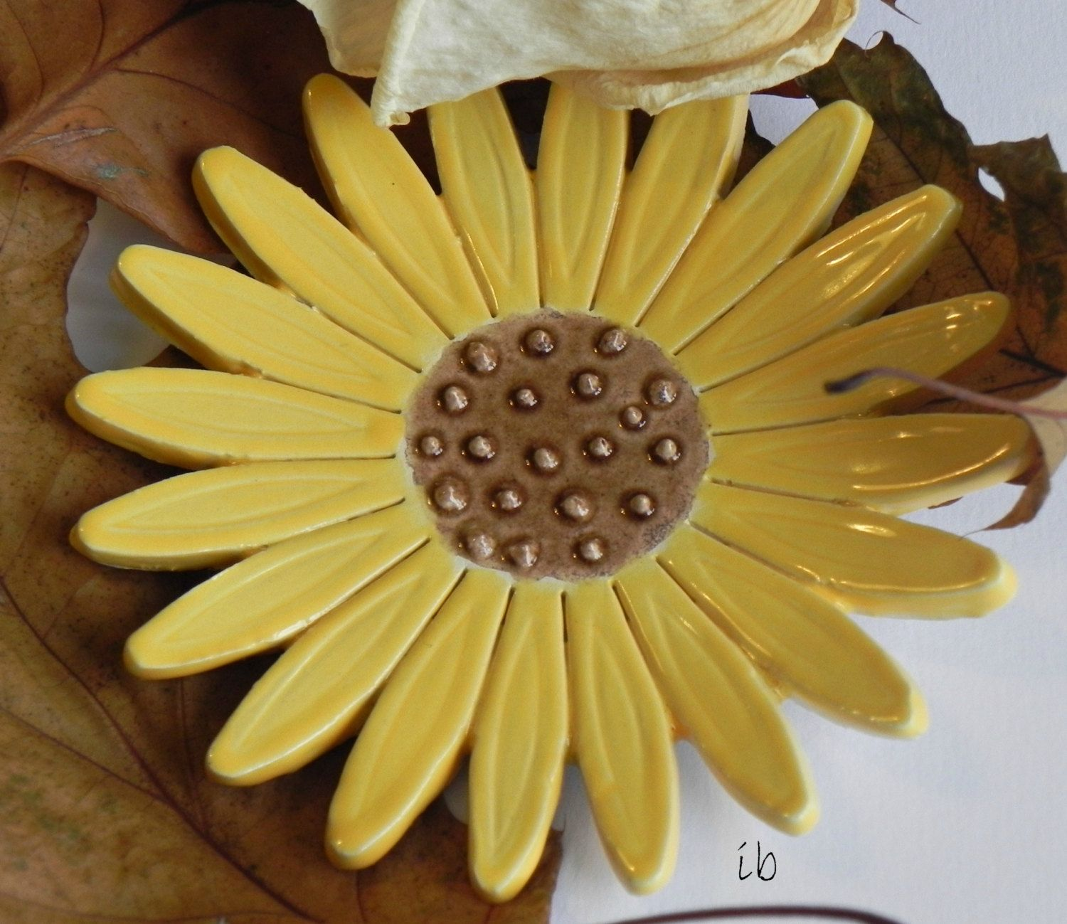 Sunflower Ceramic Ring Dish, Flower Pottery, Jewelry Plate, Home ...
