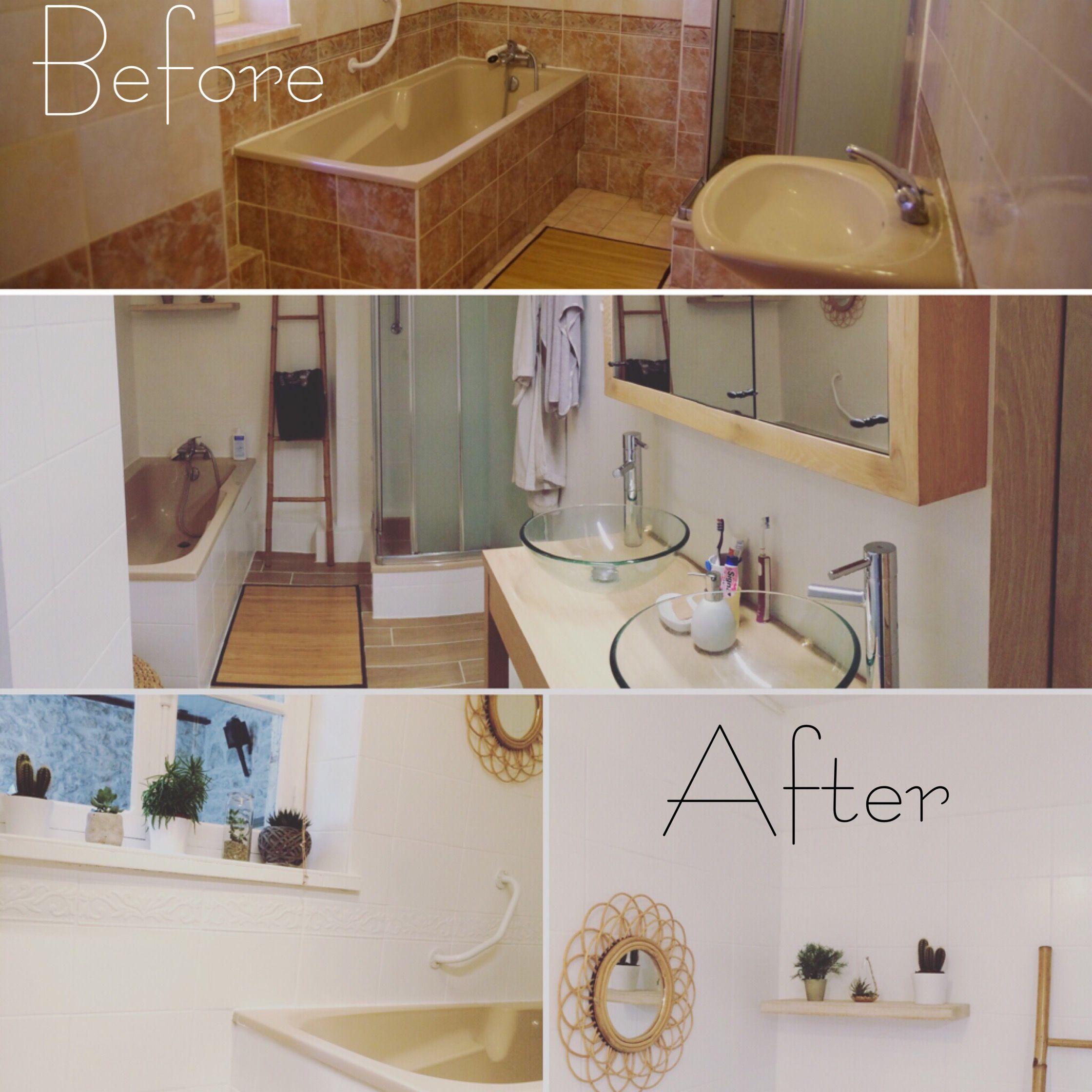 Le avant/après home staging de la salle de bain. Peinture pour