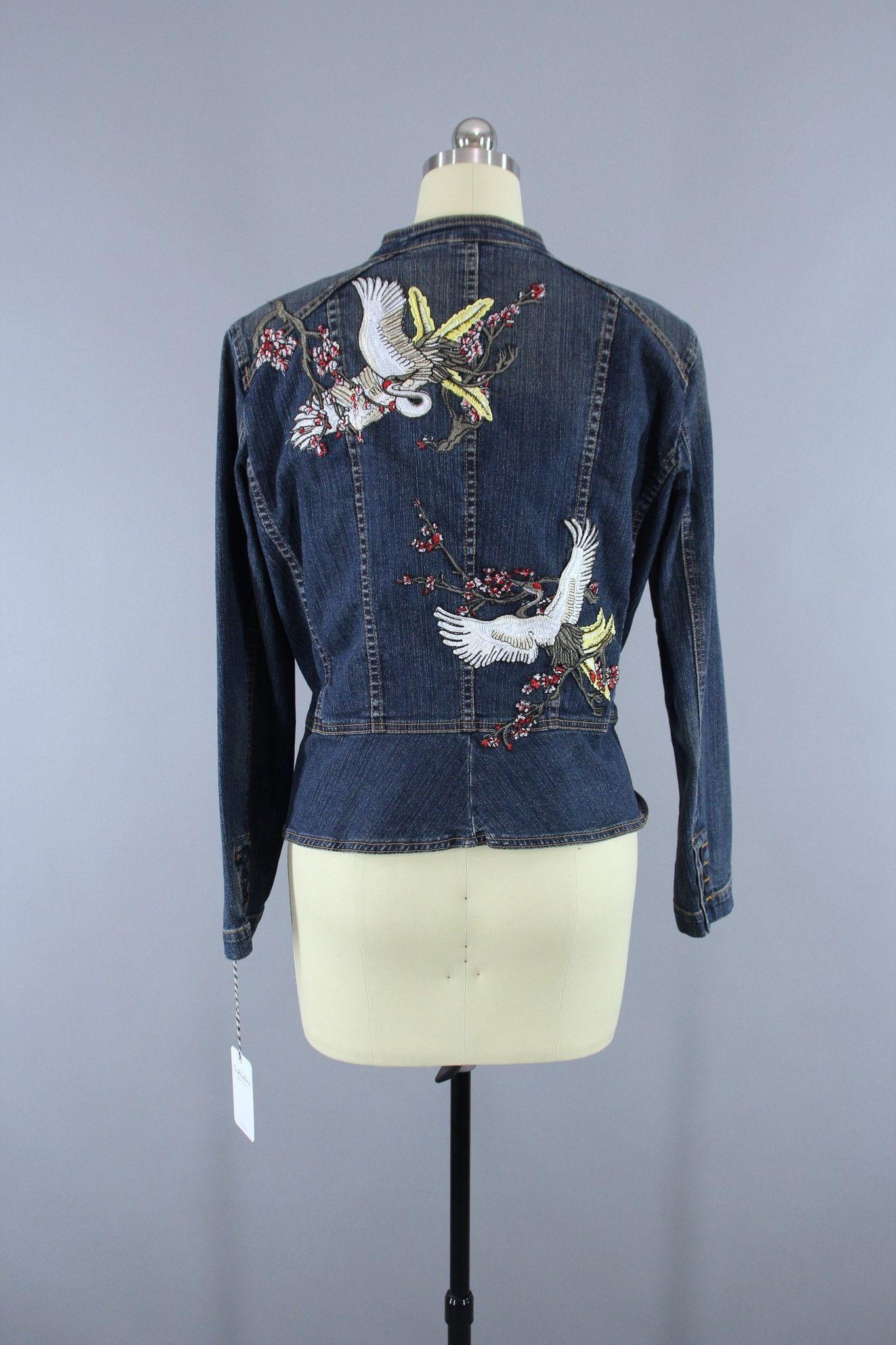 Military style denim peplum jacket with asian cranes birds