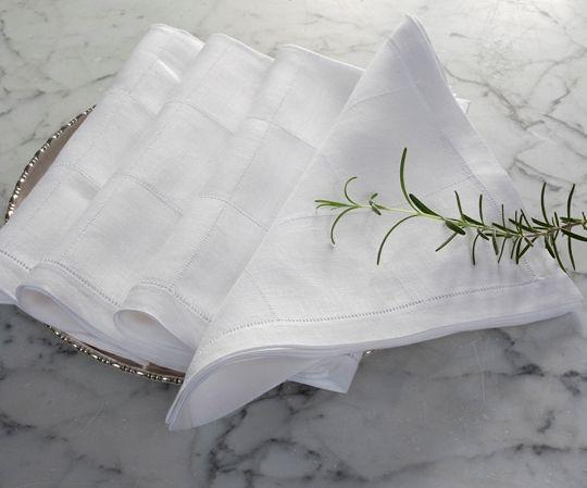 Julia B Lyon Dinner Napkins In White Linen