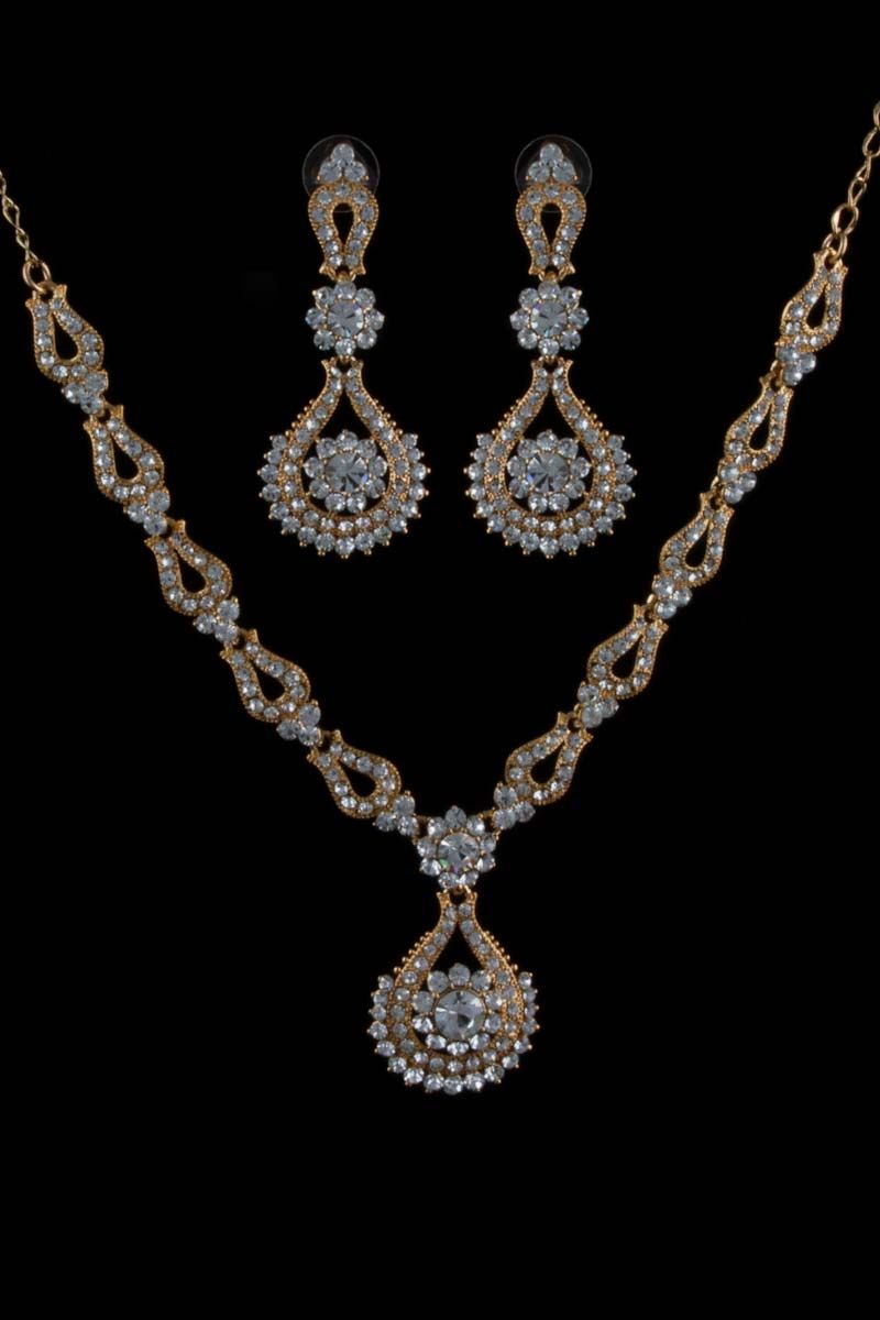 Pearl embellishment with gold toned necklace set with earrings price