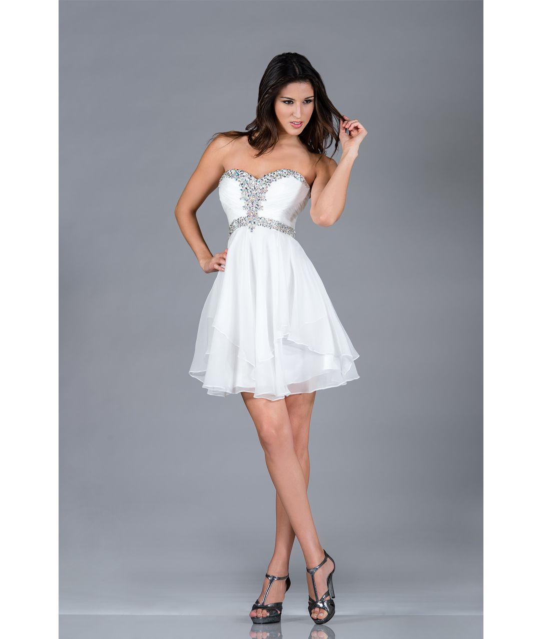 2013 Prom Dresses - Off-White Strapless Short Chiffon Prom Dress ...