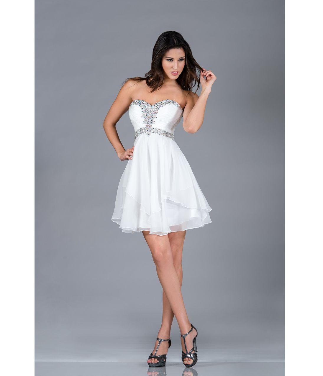 Off-White Strapless Short Chiffon Prom Dress | 8th grade dresses ...