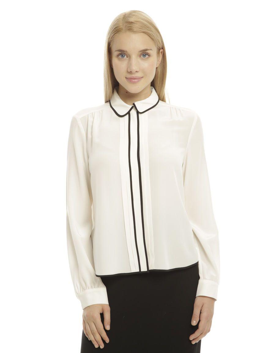 size 40 c0f38 658a4 Diffusione Tessile - Camicia con bande a contrasto, PANNA ...