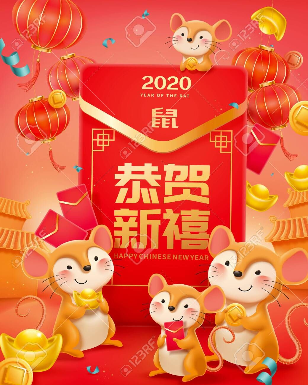 Cute Mice Holding Golden Coins With Giant Red Envelope And Gold Ingot Happy New Year And Rat Writ New Year Coloring Pages Cute Mouse Chinese New Year Greeting