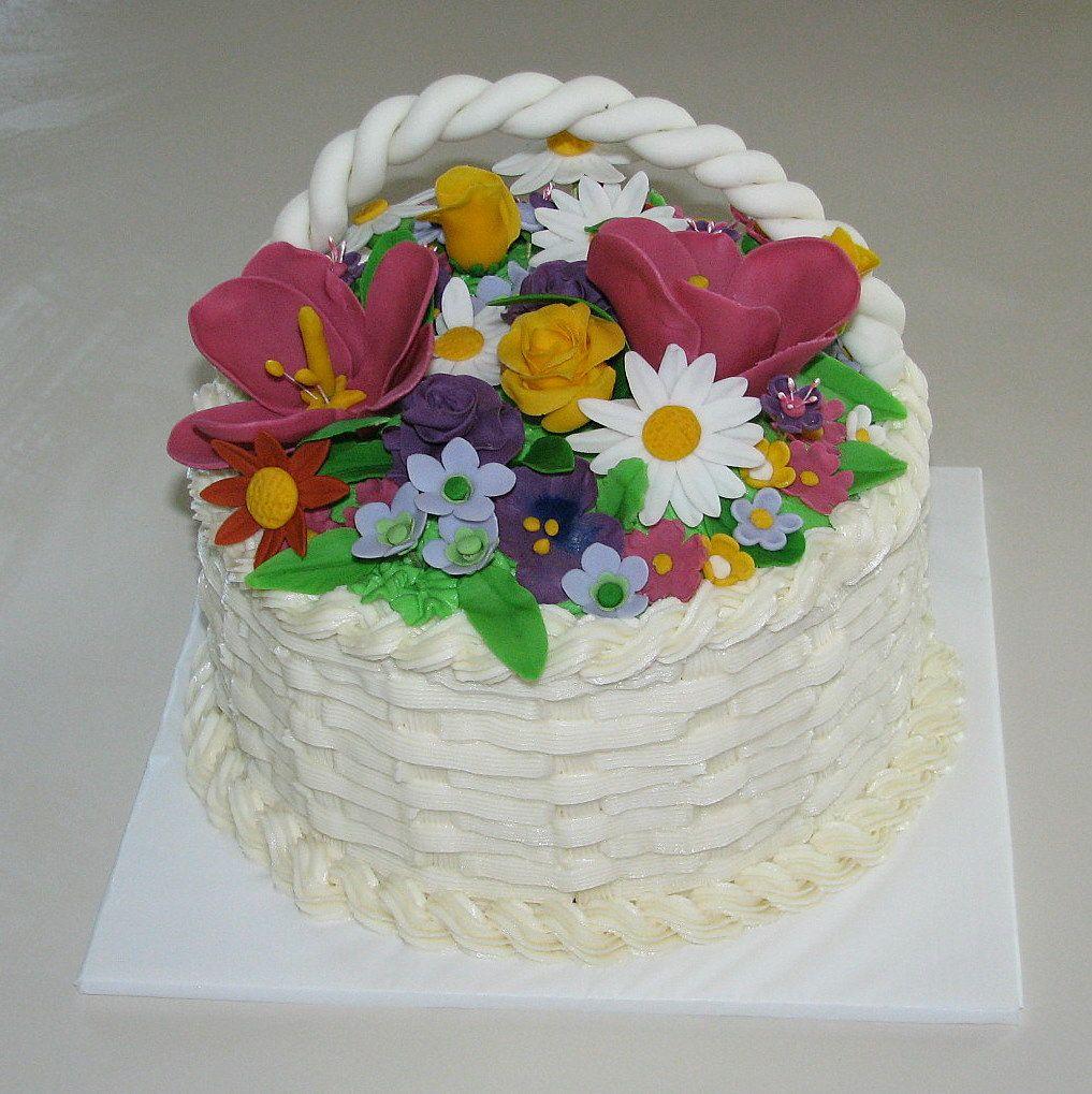 Kdf Creations Flower Basket Birthday Cake Cakes Pinterest