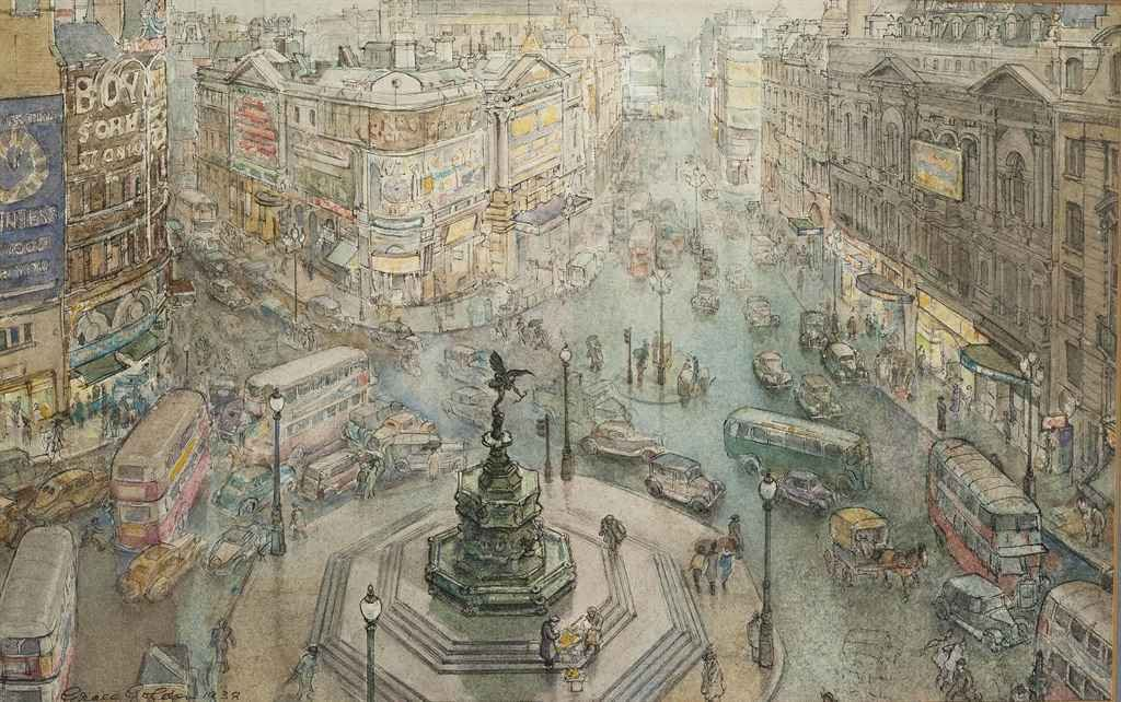 Piccadilly Circus by Grace Golden 1938 (Private Collection).