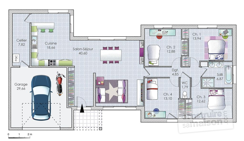 Plan De Maison Plain Pied 100m2 Archi Pinterest - plans de maison gratuit plain pied