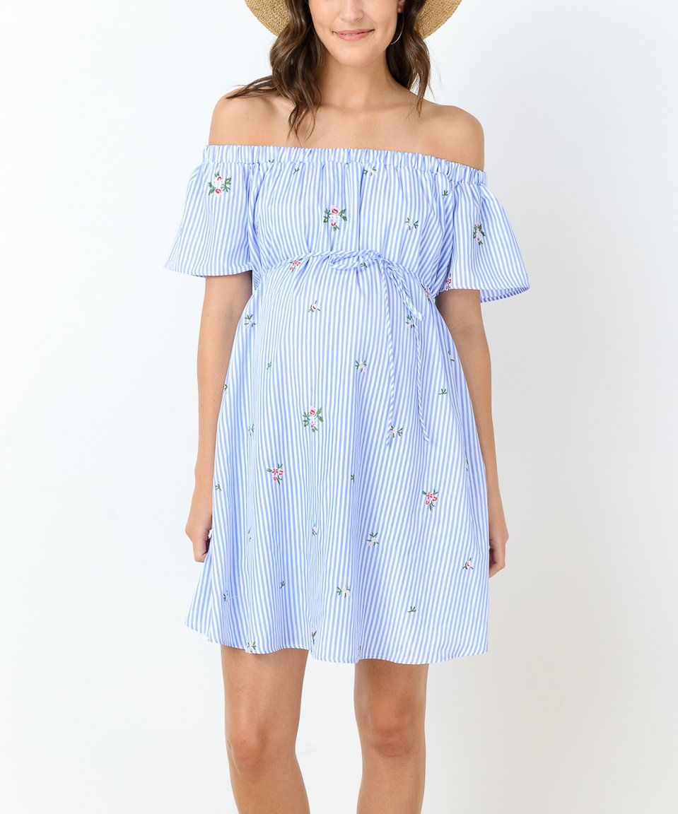 Take a look at this Hello Miz Blue Floral Stripe Maternity Off-Shoulder Dress today!