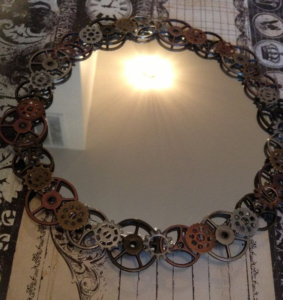 Steampunk Gears Handheld Hand Small 10 inch Mirror for Home Decor and Cosplay