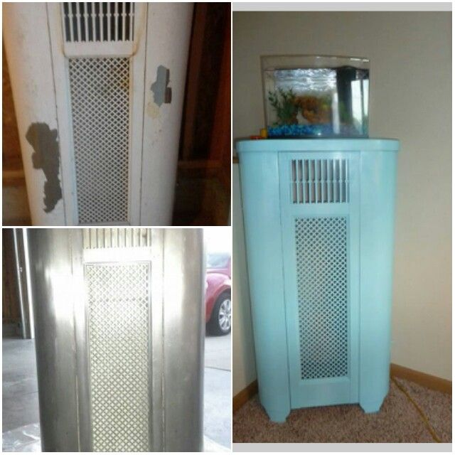 Repurposed old furnace cover to cute fish tank stand for Cute fish tanks