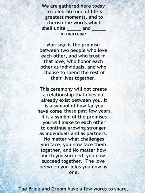 My Non Religious Short And Sweet Wedding Ceremony Script