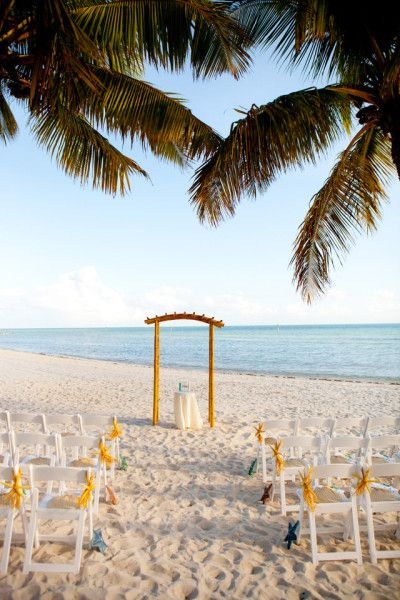 Smathers Beach Wedding Ceremony Setup by Soiree Key West Key