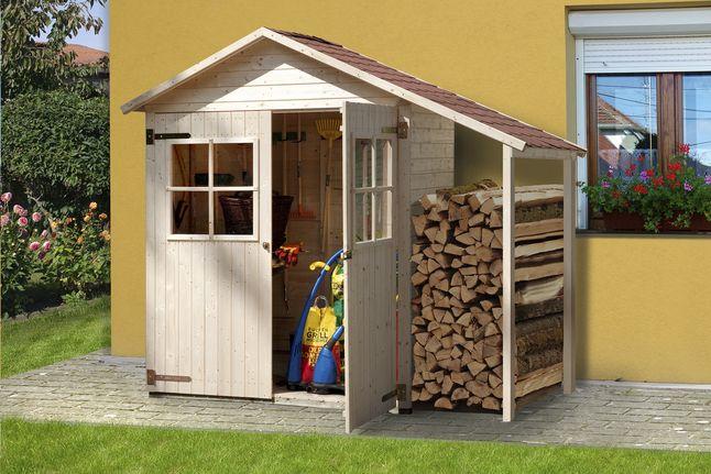 Weka Abri de jardin en bois avec abri à bûches 357A naturel | Garden ...