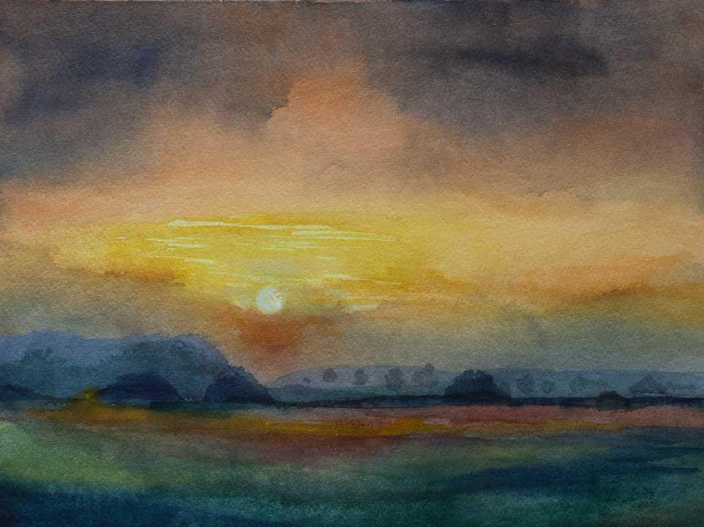 Unsere Ausstellung Wildes Land Sonnenuntergang Malen Aquarell