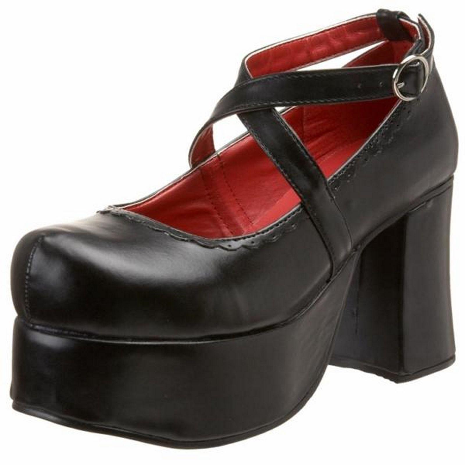 25260c1ff21 Demonia Shoes Goth Punk Clip On Bows Womens Abbey-03 Black Pu ...