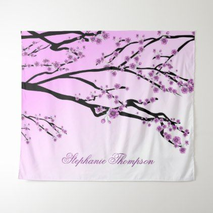 Cute Girly Pink Cherry Blossom Tree Flowers Name Tapestry Zazzle Com Flower Names Pink Cherry Blossom Tree Blossom Trees