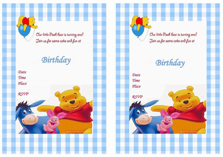 Winnie The Pooh Birthday Printable Invitations Click Image Below To Enlarge And Print Pooh Invitation Bear Invitations Birthday Party Invitations Printable