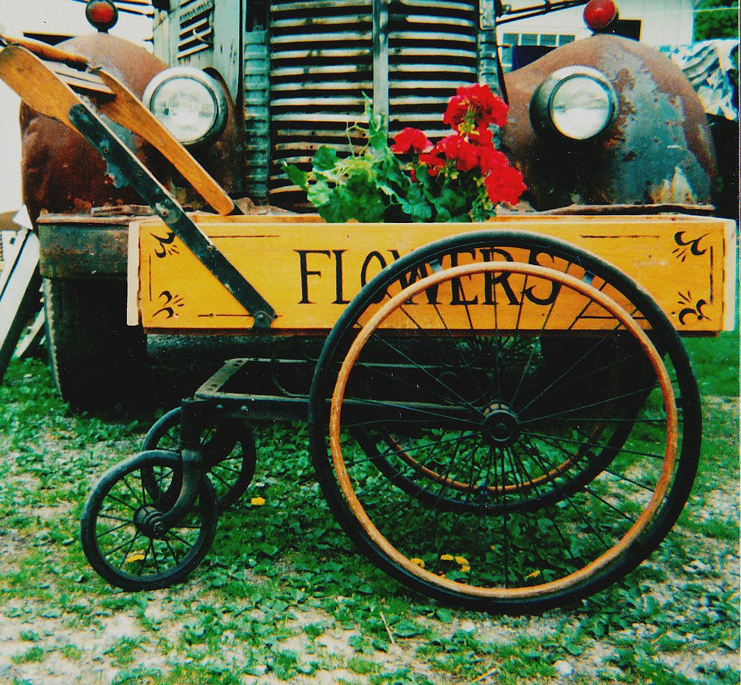 Once An Old Wooden Wheel Chair   Beautiful Wheels   Oak Handle   Made Into A