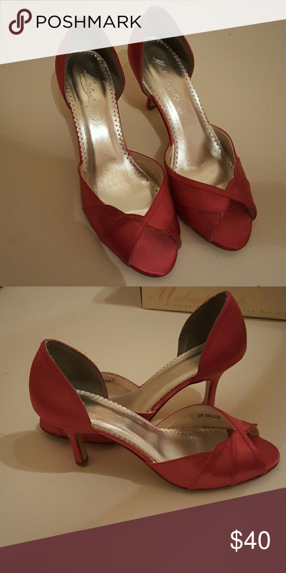 aa3685f34e30 Watermelon colored satin heels Satin heels