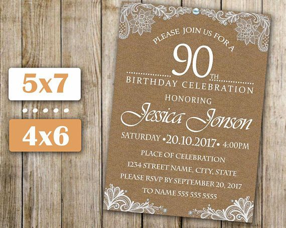 90th birthday invitation any age women birthday invite lace moms 90th birthday invitation any age women birthday invite lace filmwisefo