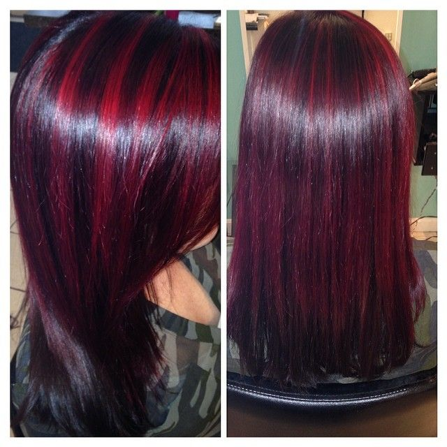 Red Highlights And Very Dark Hair Highlights Pinterest