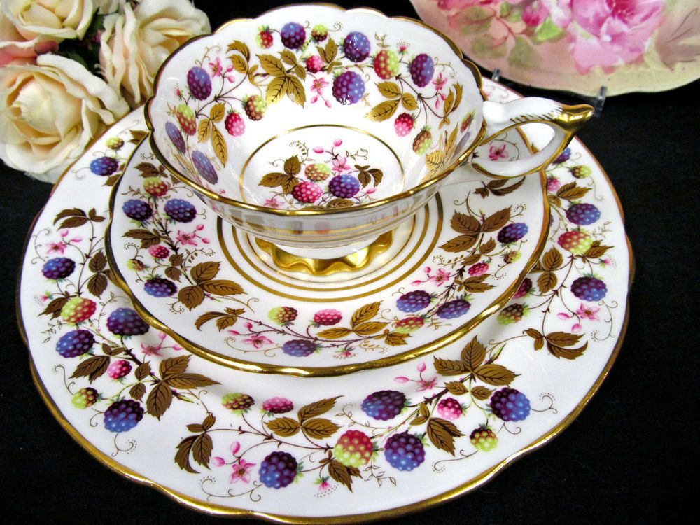 ROYAL STAFFORD TEA CUP AND SAUCER TRIO GOLDEN BRAMBLE BERRIES TEACUP